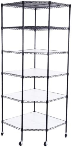 6Tier Wire Shelving Adjustable Heavy Duty Rack Corner Unit Storage Shelf Rolling