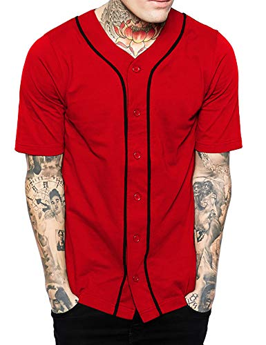 Hat and Beyond Mens Baseball Button Down Jersey(1up01_red/Black,Large)