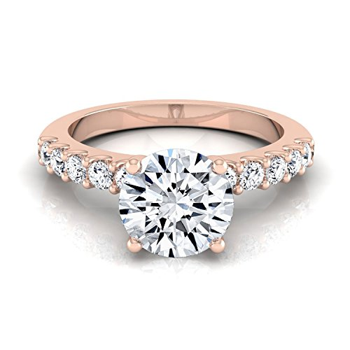 (14K Rose Gold Prong Set 7/8 ct. t.w. Round Brilliant Cut Diamond Engagement Ring, Size 8)