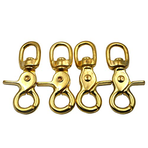 Okones Pack of 4,5/9''(14mm) Eye Diameter,2-3/5'' Overall Length,Solid Brass Lobster Clasps Oval Swivel Trigger Clips Hooks for Straps Bags Belting leathercraft (2-3/5'')