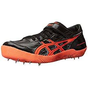 ASICS Men's High Jump Pro Track Shoe, Black/Flash Coral/Silver, 11.5 M US