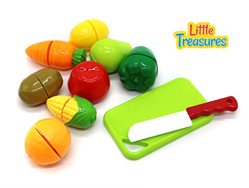 Little Treasures Fruit Slicing Playset Kids Colorful Cutting Food Playset, Perfect Playtime with Cutting Board, Knife and Vegetable such as Capsicum, Lemon, Guava, Carrot and Corn Cob for 3 Years Plus