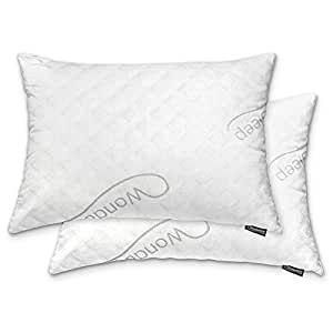 WonderSleep PREMIUM Adjustable Loft [Queen Size 2-Pack] - Shredded Hypoallergenic Memory Foam Pillow For Home & Hotel Collection + Washable Removable Cooling Bamboo Derived Rayon Cover - 2 Pack Queen