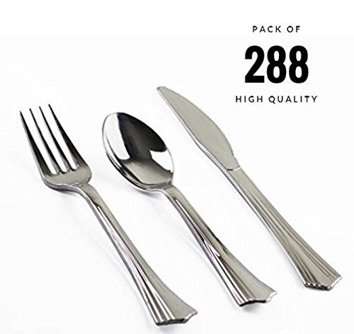 ORCHID HOME 288 Pieces Plastic Disposable Silverware Set Loo