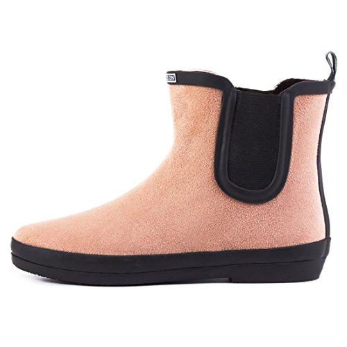 Marimo Stylische Damen Schlupf Stiefeletten Chelsea Boots Kurzschaft Schuhe in Hochwertiger Lederoptik Pink