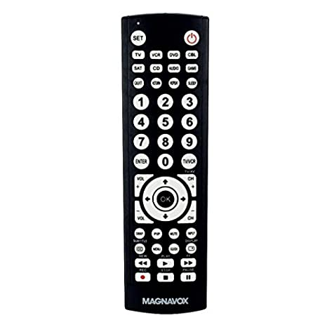 Magnavox 8-in-1 Universal Remote for TVs (TV), Digital TVs (DTV), DVD  Players (DVD), VCR Players (VCR), Set top Boxes (STB), Satellite receivers