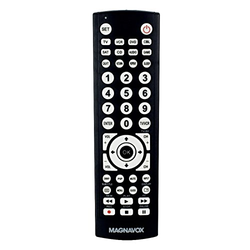Magnavox 8-in-1 Universal Remote for TVs (TV), Digital TVs (DTV), DVD Players (DVD), VCR Players (VCR), Set top Boxes (STB), Satellite receivers (SAT), AUX, and More Model MC348