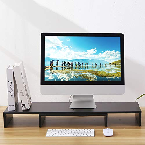 TAVR Black 3 Shelf Dual Monitor Stand Riser with Length and Angle Adjustable,Multifunctional Desktop Organizer Computer Tabletop Riser TV Stand CM1009