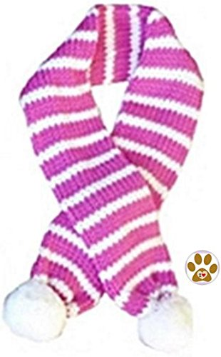 Bubble Gum Pink Stripe Small- Neck up to 11.5\ Bubble Gum Pink Stripe Small- Neck up to 11.5\ Dallas Dogs Holiday Candy Cane Striped Pet Scarf with Clip on Charm Accessory Choice of Red, Green, Pink or bluee Dog Sizes Small Thru Large (Small- Neck up to 1