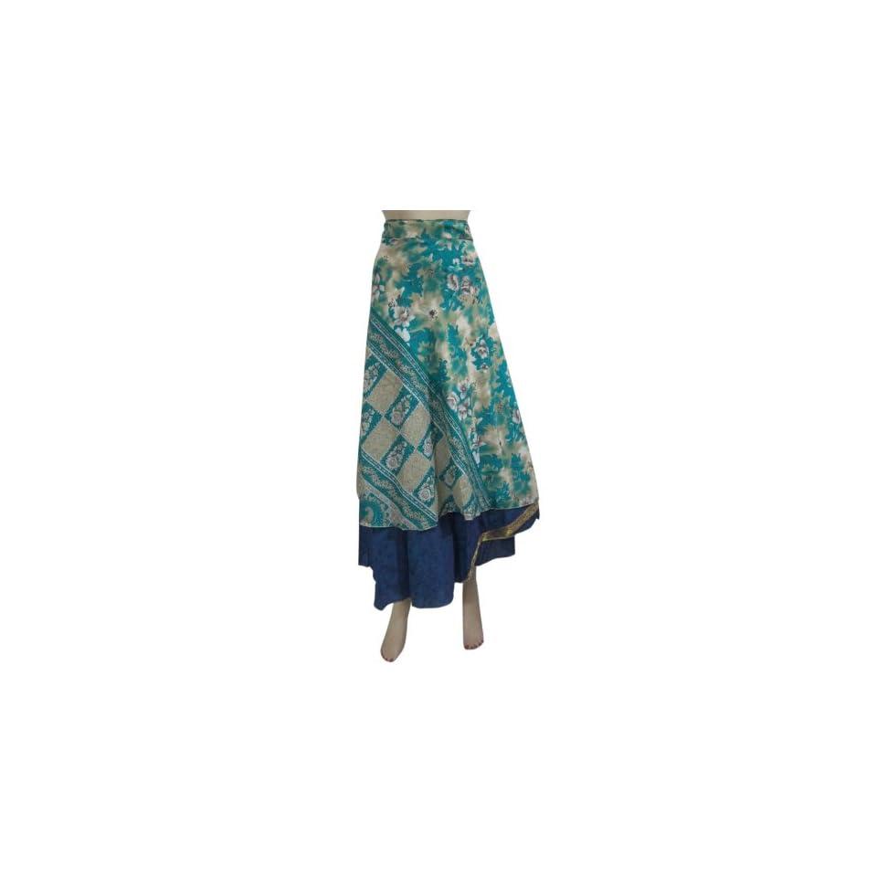 Long Wrap Skirt Green Printed Reversible Vintage Sari Sarong Skirts Dress Clothing