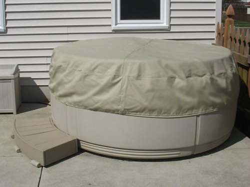 Covermates - Round Hot Tub Cover - Cap 80DIAMETER x 14H - Elite Collection - 3 YR Warranty - Year Around Protection - Khaki - Elite Pool Covers