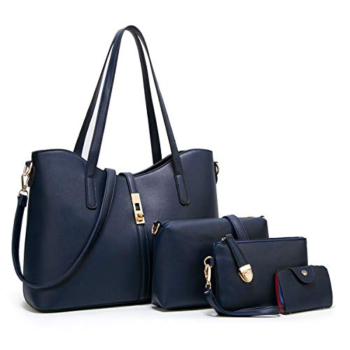 YTL Women Fashion Synthetic Leather Handbags+Shoulder Bag+Purse+Card Holder 4pcs Set Tote (Best Quality Handbags Brands)