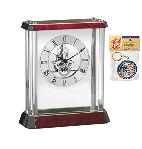 Luxury Silver Column DaVinci Dial Table Top Desk Clock Encased in Glass on Lustrous Wood Base Executive Cool Home Office Décor Mantel Tabletop Timepiece Decorative Gift Birthday Wedding Service Award
