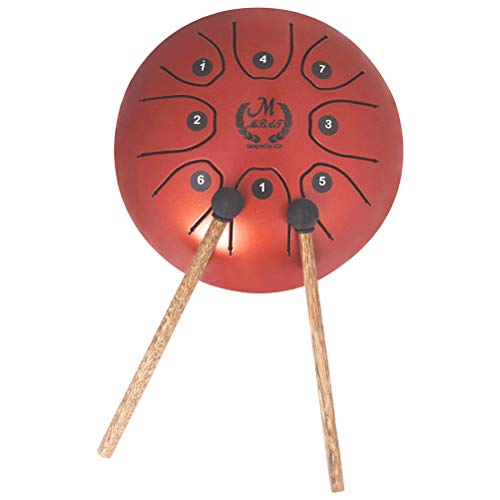 SUPVOX Mini Steel Tongue Drum Tank Drum 8 Note Percussion Instrument with Musical Mallet for Personal Meditation Yoga Zen Music Therapy Camping (Red) by SUPVOX