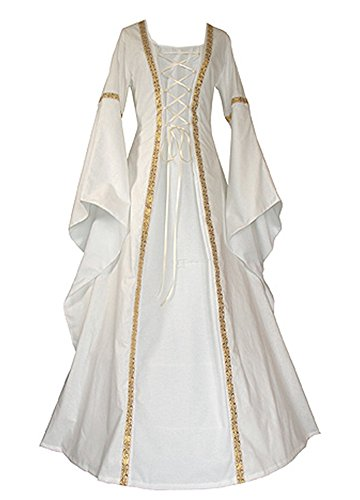 Royal Prince Fancy Dress Costume (Wollsolo Women Renaissance Medieval Costumes Vintage Cosplay Lace Up Maxi Dresses)