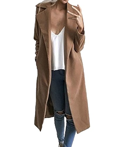 Auxo Women Trench Coat Long Sleeve Pea Coat Lapel Open Front Long Jacket Overcoat Outwear Camel US 14/Asian 2XL