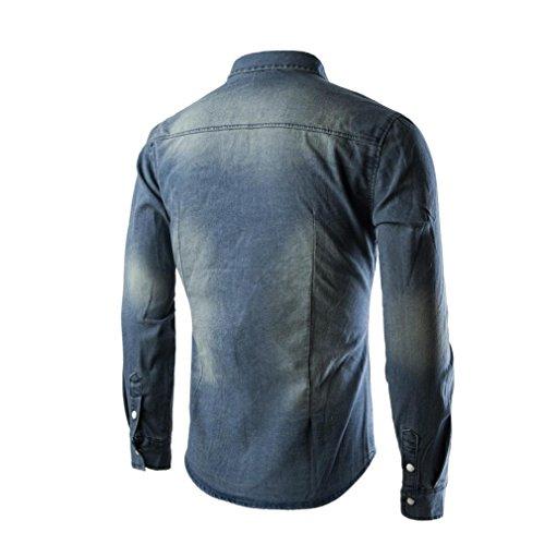 Sinzelimin Men's Shirts Standard-Fit Long-Sleeve Shirt Retro Denim Shirt Cowboy Blouse Slim Thin Long Tops (Blue, M) by Sinzelimin (Image #1)