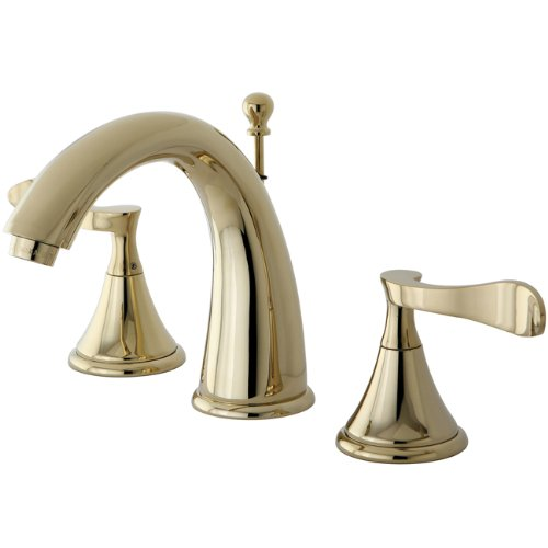 Kingston Brass KS2972CFL Century Widespread Lavatory Faucet, Polished Brass Transitional 8 Lavatory Faucet