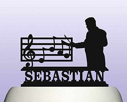 Personalised Acrylic Classical Music Conductor Orchestral Ensemble Cake Topper for Anniversary Party Decorations Birthdays, Weddings, Themed Parties Cake Decoration In Your Choice of Color
