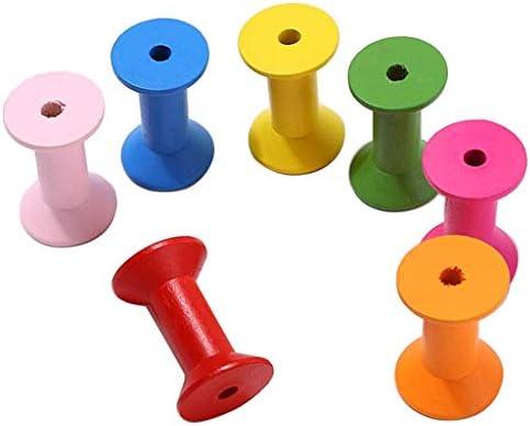 FLAMEER 20 Stuks Kleurrijke Houten Spoelen Lege Draad Spoelen ShopIdea Houten Spoelen Vintage Stijl