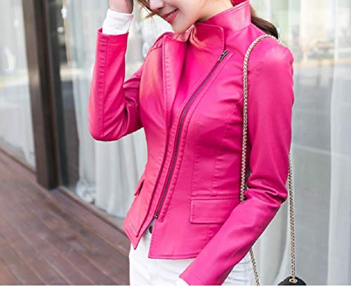 Leather Biker Up Womens Fashionable Rose Premium Red Jacket Zip Top Coat RkBaoye 5X7q0Uxx