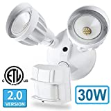 Amico 30W LED Security Lights Motion Outdoor, Motion Sensor Outdoor Lights, Dual-Head, 2500LM 5000K Waterproof IP65 Adjustable Motion Range, ETL Flood Lights