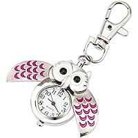 ✔Mini Key Ring owl Quartz Watch Clock Smdoxi Stainless Steel Mens Womens Couple Pendant✔ Pocket Watch (Pink)