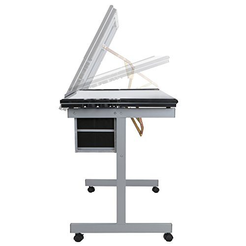 Super Deal Glass Top Adjustable Drawing Desk Craft Station Drafting Table Tempered Glass Top Art Craft w/Drawers and Wheels by SUPER DEAL (Image #3)