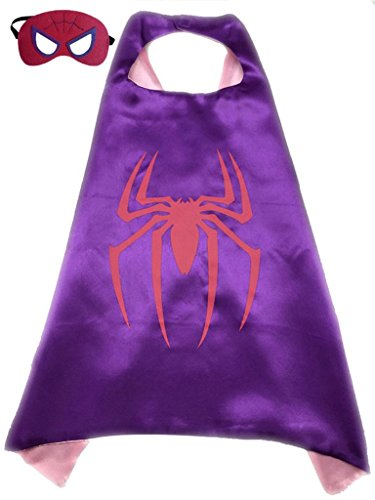 Superhero or Princess Kids CAPE & MASK SET Childrens Halloween Costume (Purple & Pink (Pink Spider Girl)