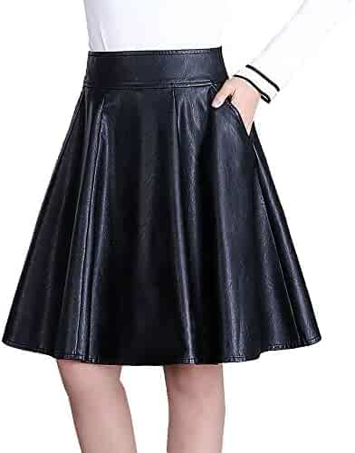 ffb8ccdf56 Allonly Women's PU Leather A-Line High Waisted Pleated Skirt Knee Length  with Pockets