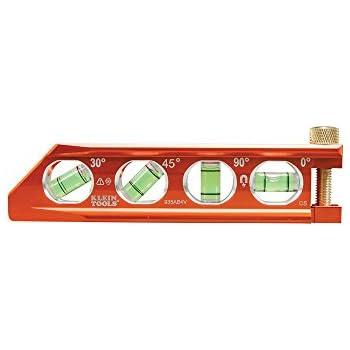 Torpedo Level, Magnetic, 4 Vial for Conduit Bending & More with V-Groove & Magnet Track Klein Tools 935AB4V
