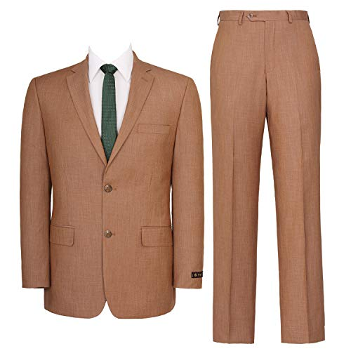 P&L Men's Two-Piece Classic Fit Single Breasted Suit Blazer Tux & Flat Front Trousers Light Rust