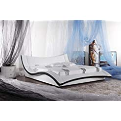 Greatime-B2007-Queen-Black-And-White-Platform-Bed