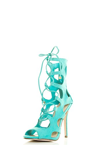Breckelles Womens Peep Toe Lace Up Gladiator Cage Cut Out Stiletto Heel Pump Sandal Aqua
