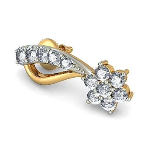 Or jaune 18 K 0,4 CT TW White-diamond (IJ | SI) Boucles d'oreille à tige