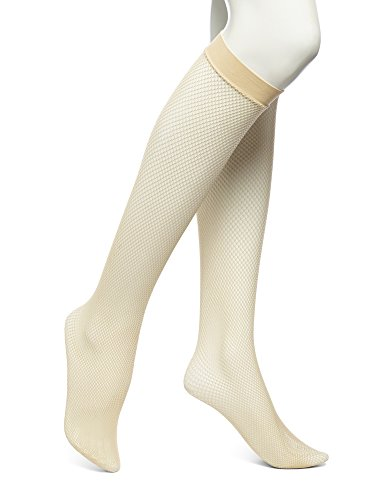 No Nonsense Women's Fishnet Knee High Trouser Sock, Nude, One Size