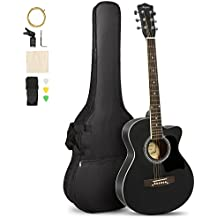 ARTALL 39 Inch Handcrafed Acoustic Cutaway Guitar Beginner Kit with Gig bag & Accessories, Matte Black