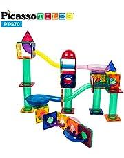 PicassoTiles 70-częściowy marmurowy tor tor wyścigowy płytki magnetyczne magnes budynek blok edukacyjny konstrukcja zestaw zabawek zestaw do zabawy STEM zestaw do nauki dziecko mózg rozwój dłoni koordynacja