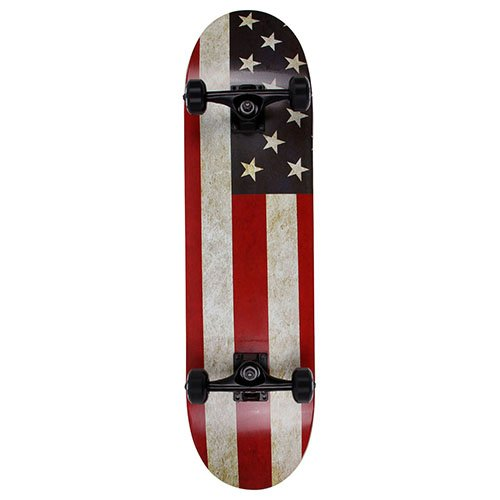 NPET Pro Skateboard Complete 31 Inch 7 Layer Canadian Maple Double Kick Concave Deck Skating Skateboard (American flag)