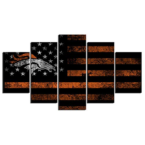 Broncos Canvas - PEACOCK JEWELS [Large] Premium Quality Canvas Printed Wall Art Poster 5 Pieces / 5 Pannel Wall Decor Rugby Sports Flag Broncos Painting, Home Decor Pictures - Stretched