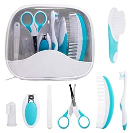 7 Pcs/Set Baby Grooming Kit Newborn Nursery Baby Health Care Set Infant Manicure Care Set Including Nail Clipper File Scissor Tweezer Hair Brush Comb with Storage Bag for Travel & Home Use