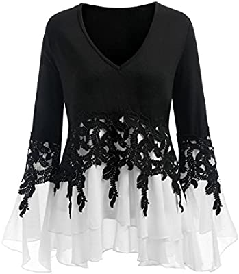 Camisas Mujer Elegantes Tallas Grandes,❤ Modaworld Camiseta de Manga Larga para Mujer Blusa de Gasa de Applique Informal para Mujer Tops niña Outwear ...