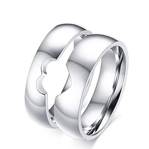Beydodo Engagement Rings Set for Him and Her Couple Ring Stainless Steel Puzzle Heart Women Size 6 & Men Size (Stainless Steel Puzzle Ring)