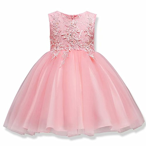 AYOMIS Girls Lace Princess Party Formal Dresses Elegant Pageant Wedding Bridesmaid Prom High-Low Gown (Pink - knne,130) -
