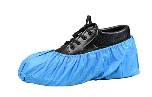 Polyethylene Shoe Covers - Keystone SC-CPE-LG-LRG-BLUE-1BG Keytone, Cross Linked Polyethylene Shoe Cover, Water Resistant, Blue (Pack of 100)