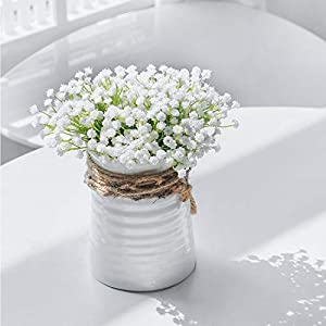 DuHouse Baby's Breath Artificial Flowers Fake Gypsophila Floral Bulk for Wedding Party Home Outdoor Decoration (10pcs, White) 75