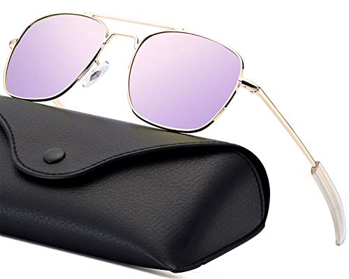 Aviator Sunglasses for Women Polarized Lense Pilot Sun glasses for Men Retro Military Navigator Army Polarized Classic Square Metal Sun Glasses for Women Gold Frame Purple Mirrored Lens