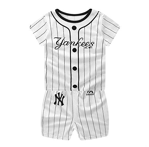 Toddler Boys Cotton Clothing Sets Short Sleeve Tee and Shorts (Baseball, 4-5 T)]()