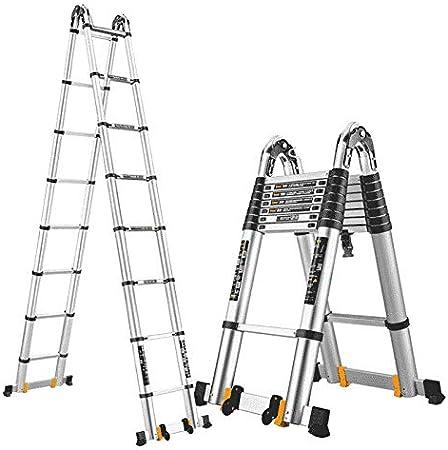 DZWSD Escalera Telescópica escaleras de Aluminio,con Barra Estabilizadora - Escaleras Extensión Aluminio para Actividades Aire Libre Hogar Escaleras para Trabajos Pesados, Capacidad 150kg: Amazon.es: Hogar