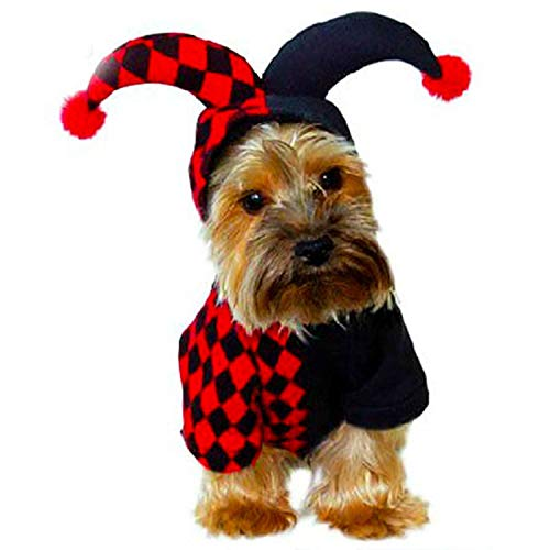 HDE Jester Pet Halloween Costume Red and Black Checked Outfit with Attached Hood and Pom Pom Balls (Red, Medium)]()